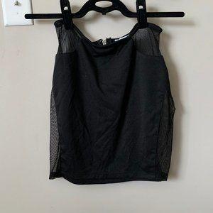 Black Mini Skirt with Mesh Panels
